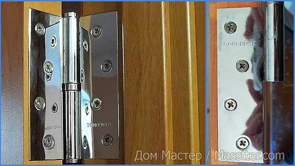 Как выглядят точно врезанные дверные петли