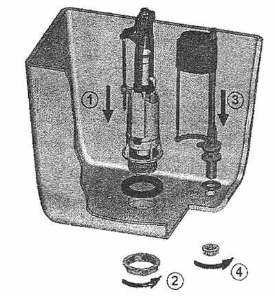 Порядок установки арматуры в бачок унитаза