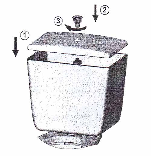 Установка крышки бачка и кнопочного узла
