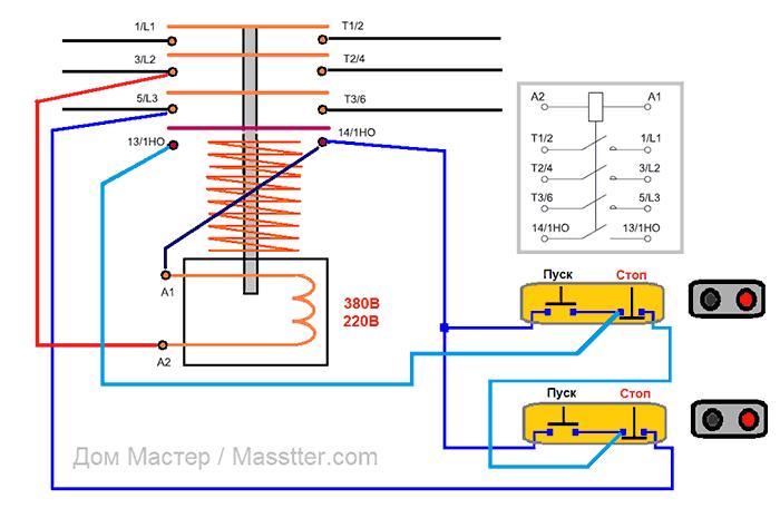 Наглядная схема подключения магнитного пускателя (контактора) с двух мест
