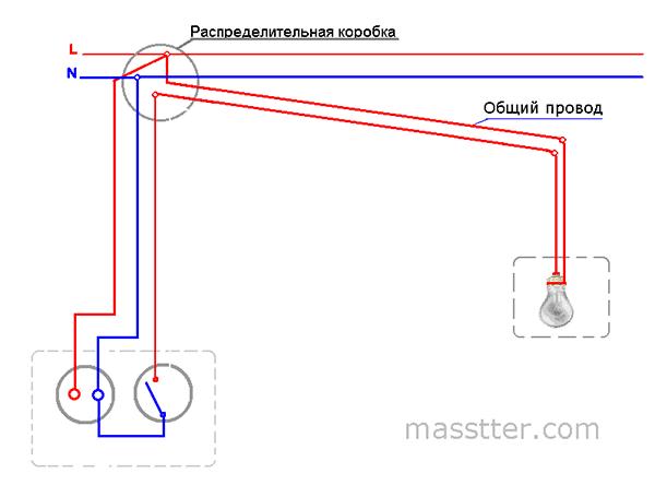 podkljuchenie rozetki s odnoklavishnym vykljuchatelem (5)