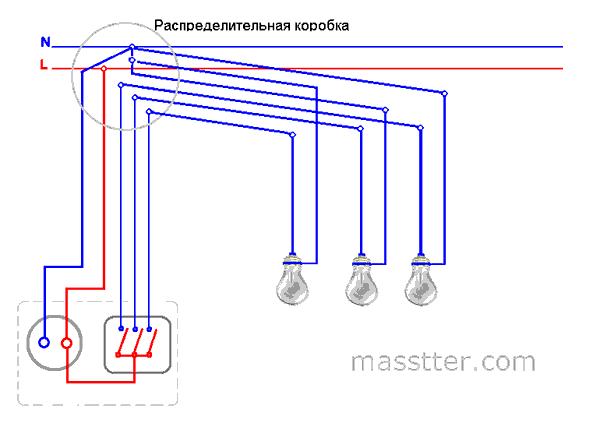 podkljuchenie rozetki s trehklavishnym vykljuchatelem (1)