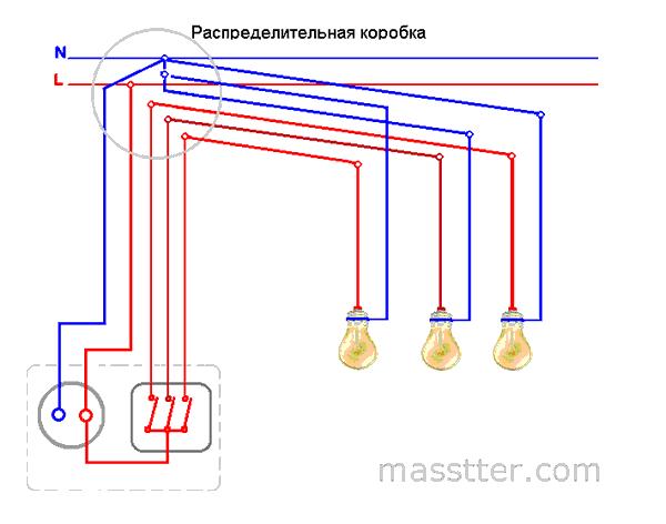 podkljuchenie rozetki s trehklavishnym vykljuchatelem (2)
