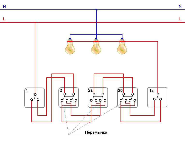 1, 1а - одинарный проходной выключатель 2, 2а, 2б - двойной спаренный проходной выключатель Схемы проходных.