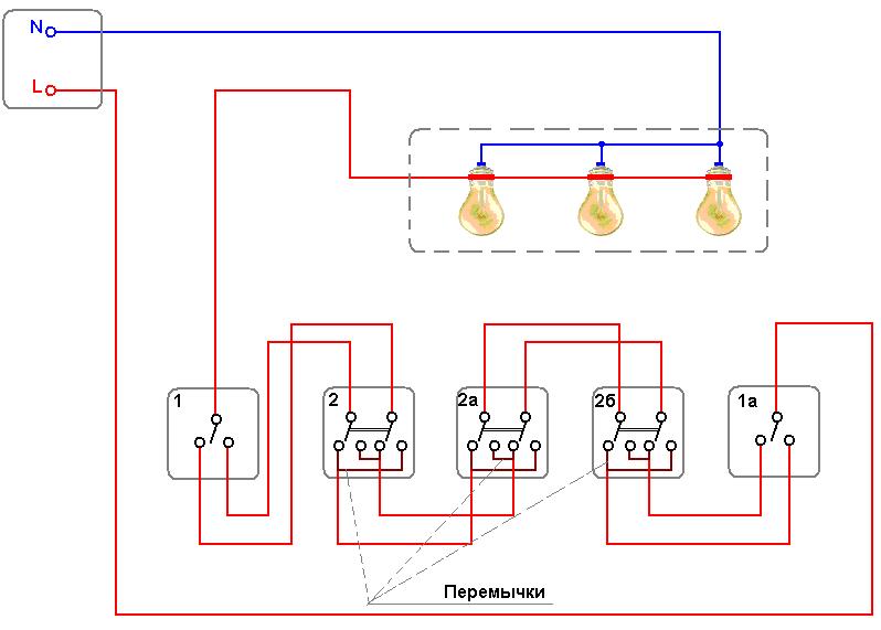 Схема подключения освещения с