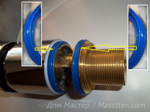 Ремонт однорычажного смесителя, ставим прокладки