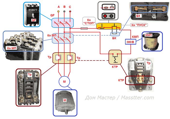 Схема подключения МП (или КМ) с катушкой на 380В