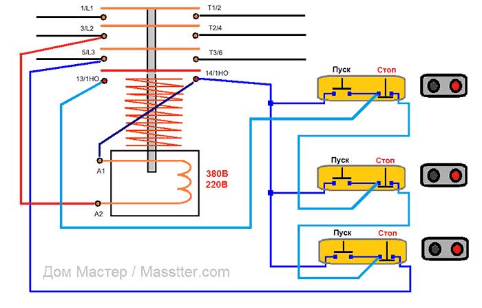 Схема подключения магнитного пускателя (контактора) с трехх мест