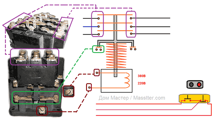 Схема привязки пускателя, контактора