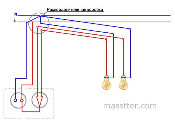 podkljuchenie rozetki s dvuhklavishnym vykljuchatelem (2)