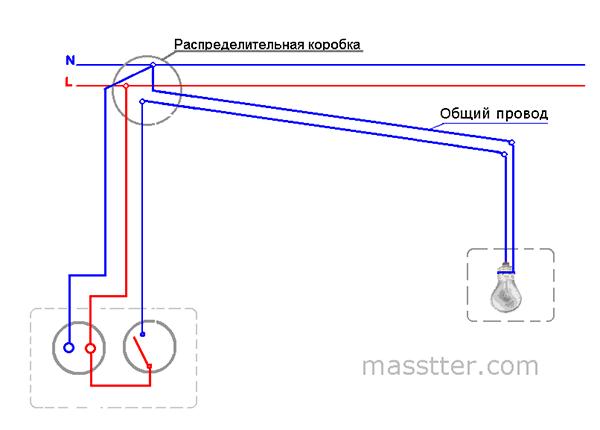 Подключение розетки с одноклавишным выключателем