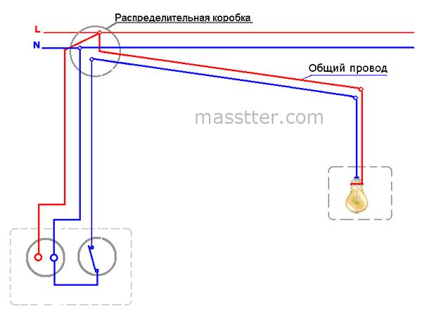 podkljuchenie rozetki s odnoklavishnym vykljuchatelem (6)