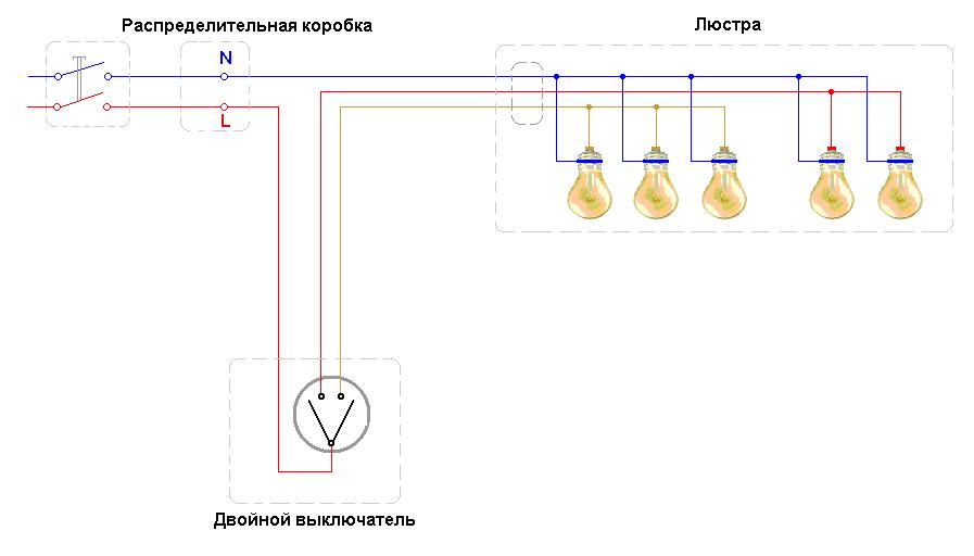 Подключение люстры
