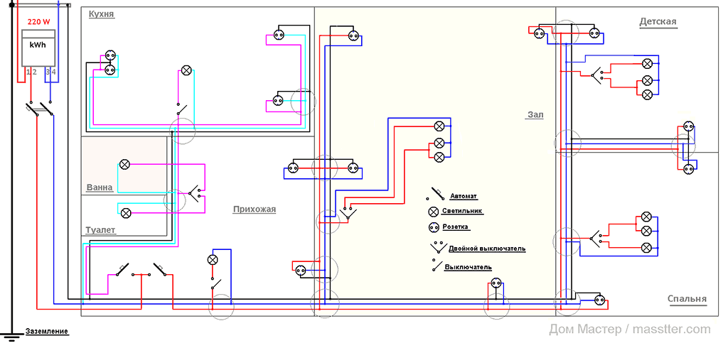 Схема электропроводки трехкомнатной квартиры
