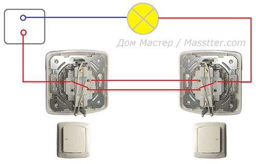 схемы подключения проходного выключателя