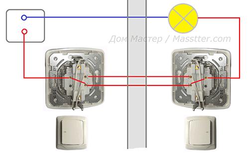 Пример использования проходного выключателя в квартире